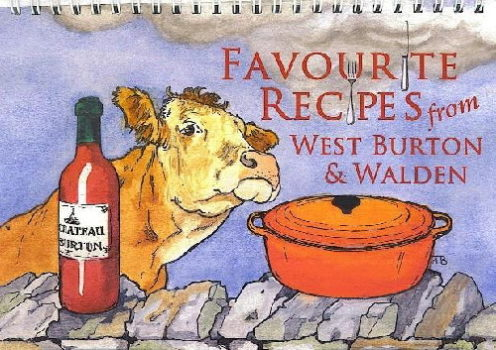 Recipe book front cover showing a cow next to a drystone wall.